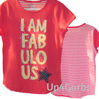 TCP Childrens Place Striped Back I am FABULOUS T shirt top Sz L Large 10 12 NWT