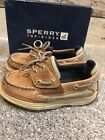 Sperry Boys Lanyard AC tan navy Leather Shoes Size Little Kids 105M