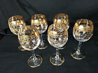 Crystal Bohemian Moser Wine Goblet Hock Glasses Etched Gold Gild Stemware Set 6