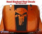 Punisher Skull Hood Blackout Vinyl Decal fit Jeep CJ5 CJ7 CJ8 Scrambler Renegade