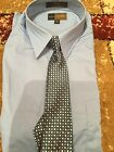 Metro Concepts boys size 18 junior blue button down shirt with clip on tie