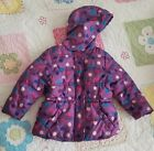 Faded Glory Toddler Girls Size 24 Months Purple Polka Dots Hearts Winter Coat