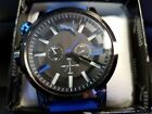 Mens Puma Ultrasize Black And Blue Silicone Chronograph Watch Free S H New