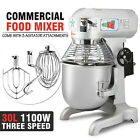 30 Qt 1.5 HP Commercial Dough Food Mixer 3 Speed Floor Stand Stainless Steel