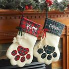 CHRISTMAS STOCKINGS PERSONALIZED DOG CAT PAW FREE NAME MACHINE EMBROIDERY NEW