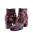 Womens Shoe Qupid Rannel 07 Floral Embroidered Ankle Bootie Burgundy Multi New