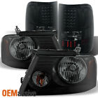 2004-2008 Ford F150 F-150 Black Smoked Headlights + LED Tail Lights Brake Lamps