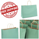 50 Pcs 16x6x12 Large Green Kraft Gift Paper Bags Shopping Candy Party Handles