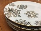 NWT LUXE Gold Snowflake Plates Salad Dessert Accent Side Set of 4 Holiday CIROA