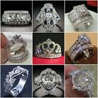 Fashion 925 Sterling Silver White Topaz Wedding Ring Womens Men Jewelry Sz6 10