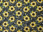 SUNFLOWER FLORAL SUNFLOWERS YELLOW GREEN COTTON FABRIC FQ