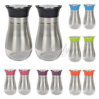 2 Piece Set Salt  Pepper Seasoning Glass Shaker with Stainless Steel Cover