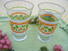 2 Libbey Striped Glasses White Orange LIme Green Summer Retro Juice Floral Clear