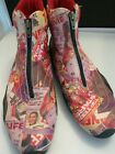 Vintage Pazzo Old Hollywood Movie Print Ankle Boots Retro Mod Look