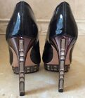 BOUTIQUE 9 Black Patent Leather Crystal Jeweled Peep Toe Platform Pump Heels 65