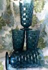 4 Indiana Glass Teal Blue Whitehall Colony Footed 7