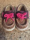 Cheetah Print Pink Laces Sperry Toddler Shoe Size 3m