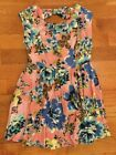 Adorable Pink Artistic Floral Open Bow Cut Out Back Skater Pleated Mini Dress M