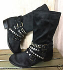 Ash black brushed satin slouchy Cult Studded Motorcycle Boots 385 85