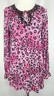 Just B Size S Pink Leopard Beaded Tunic Top Long Sleeve Elastic Hip