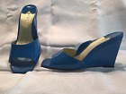 Taryn Rose royal blue patent leather wedge sandal size 9