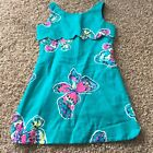 LILLY PULITZER Girl Size 10 Blue Butterfly Tank Dress D20 Scalloped D20
