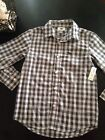 New with tags Old Navy boys black gray checked plaid pocket button down shirt
