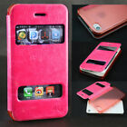 For Apple iPhone 4 4s Luxury Ultra Thin Leather Flip Transparent Back Cover Rose