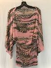 Womens Pink Leopard Batwing Blouse convertible crew or cowl neck