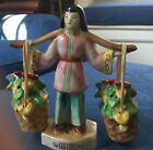 Vintage Chinese Girl Carrying Flowers Salt and Pepper Shakers Hand Painted