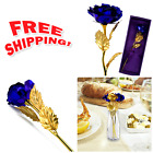 Gold Plated Rose Flower 24K Dipped Artificial Decor Mothers Xmas Gift Love Blue