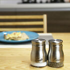 2 Piece Stainless Steel Glass Salt Pepper Shaker Seasoning Twist Rotating Cover