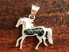 Horse Pendant Charm  Sterling Silver  Semiprecious Stone  Made in USA