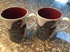 Set Of 2 Fitz and Floyd Coq du Village Rooster and Hen Mug Coffee Cups