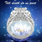 Heart Cut White Sapphire Vintafe Style Skull Lotus Inspired 925 Silver Ring New