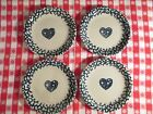 Tienshan Folk Craft HEARTS Set of 4 Salad/Dessert Plates Blue Spongeware