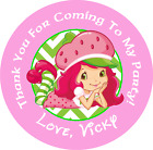 STRAWBERRY SHORTCAKE CUSTOM BIRTHDAY ROUND PARTY STICKERS FAVORS VARIOUS SIZES