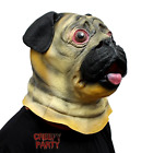 Dog Head Mask Halloween Costume Party Latex Animal In Pug Design Deluxe Novelty