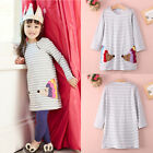 USA Stock Casual Baby Kids Girls Long Sleeve Striped Cotton Party Clothes 2 7 T