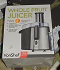 NEW  VonShef Electric Wide Mouth Whole Fruit Juicer Machine Stainless Steel 700W