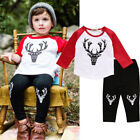 Newest Kids Baby Boy Cotton Christmas Deer Tops Legging Pants Set Outfit Cloth