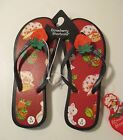NWT Womens STRAWBERRY SHORTCAKE Red Sandals Flip Flops Size S 5 6