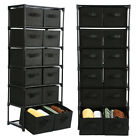 12 Drawers Storage Shelf Unit with 12 Removable Non woven Fabric Bins in Black