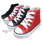 New toddler boys girls sneaker canvas tennis high top laces up shoes