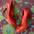 JEFFREY CAMPBELL Classic Bright Cherry Red Leather Round Toe Wood Heeled Pumps 8