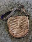 PATRICIA NASH WOVEN LEATHER TAUPE TAN CROSS BODY SHOULDER BAG BRAIDED STRAP