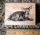 Inkadinkado Wood Mounted Rubber Stamp FAWN Baby Deer Woodland Animal