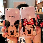 For iPhone 8 Plus X Cute Mickey Minnie Bling Sparkle Glitter Soft Gel Case Cover
