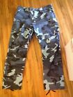 Mens Combat Military Blue Black Camouflage Army Camo Cargo Pants Large Regular