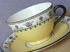 Antique 1910s Aynsley England bone china black  yellow art deco tea cup teacup